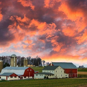 Lancaster County Sunset over an Amish Farm - Photo by Ed Heaton