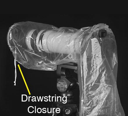drawstring closure at the front of the lens