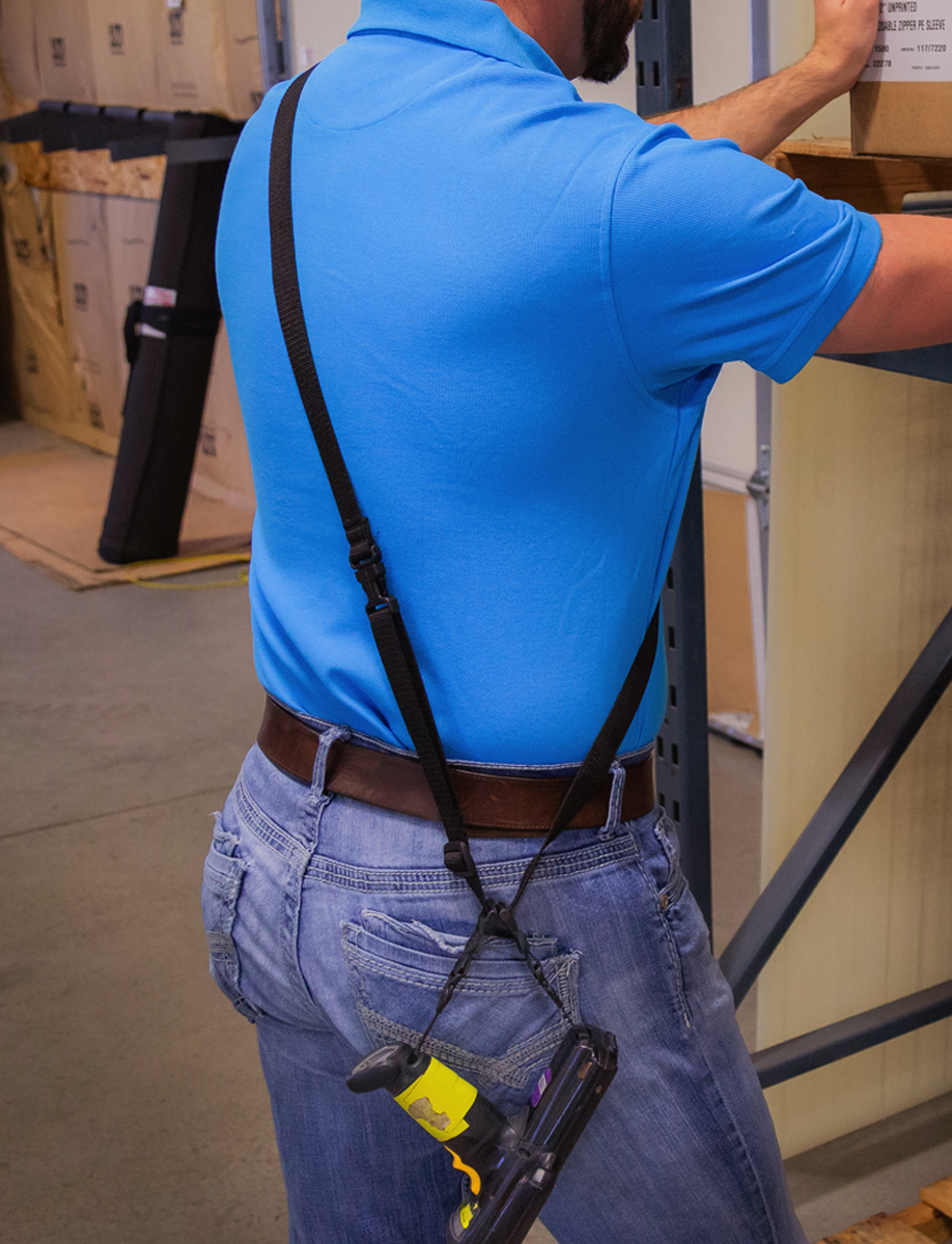 Scanner Sling worn on shoulder