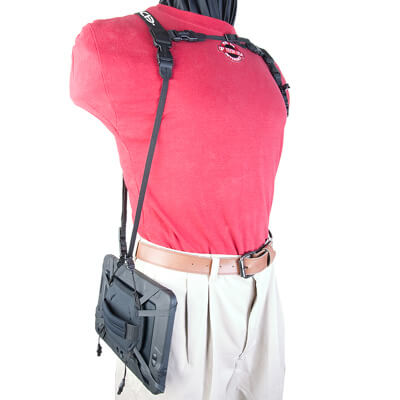 Tablet Double Harness with Tablet hanging horizontally at side