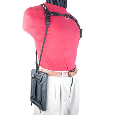 Tablet Double Harness with Tablet hanging vertically at side
