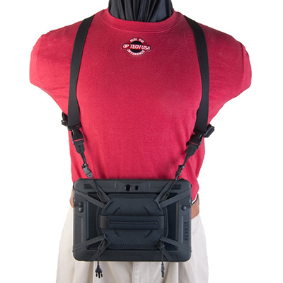 Tablet Elastic Harness with Tablet hanging in front