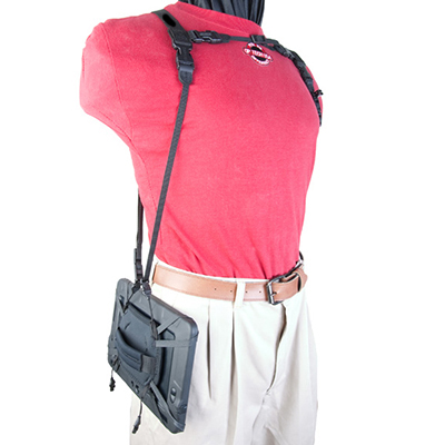 Kindle Fire Double Harness with Kindle hanging horizontally at side